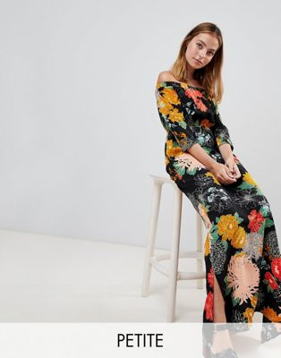 Glamorous Petite Off Shoulder Maxi Dress With Split In Bold Floral