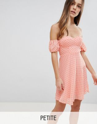 Glamorous Petite Off Shoulder Mini Dress With Sweetheart Neckline In Polka Dot