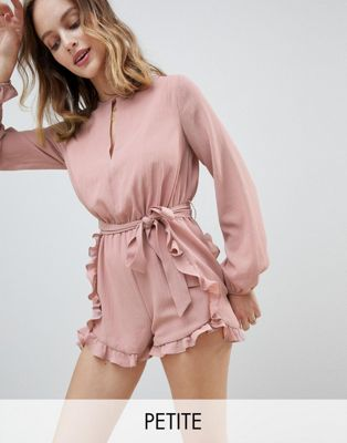 Glamorous Petite Playsuit With Frill Shorts And Tie Waist