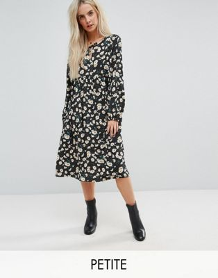 Glamorous Petite Smock Dress In Dot Floral