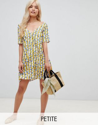 Glamorous Petite v neck shift dress in floral and stripe