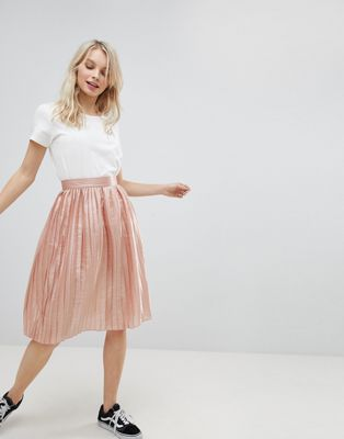 Glamorous Pleated Metallic Skirt
