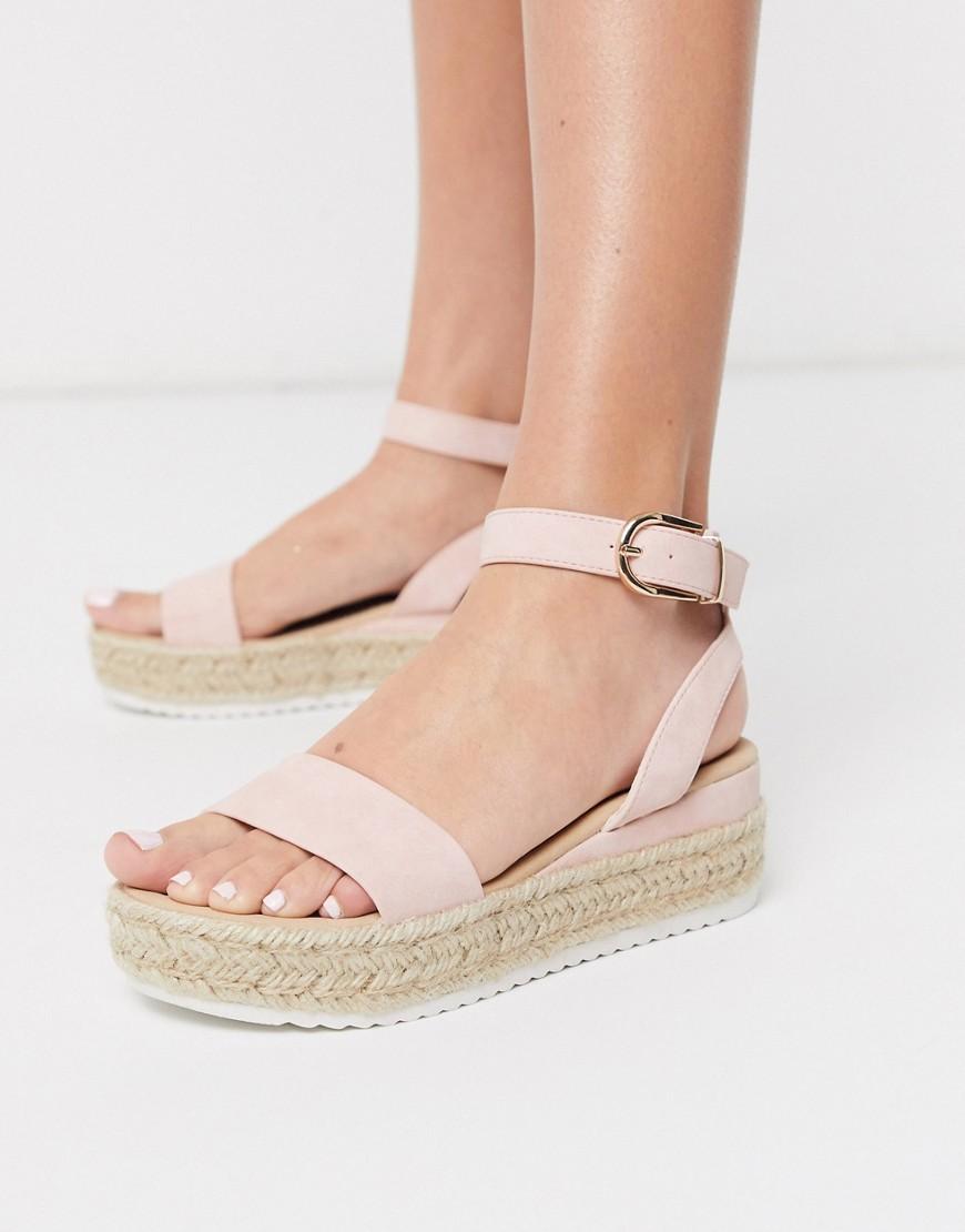 Glamorous – Robuste Espadrilles mit flacher Plateausohle inGehaucht rosa   Schuhe > Espadrilles   Glamorous