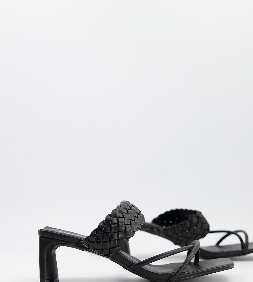 Glamorous - Sandaler med hæl og vævet detalje i bred pasform i sort