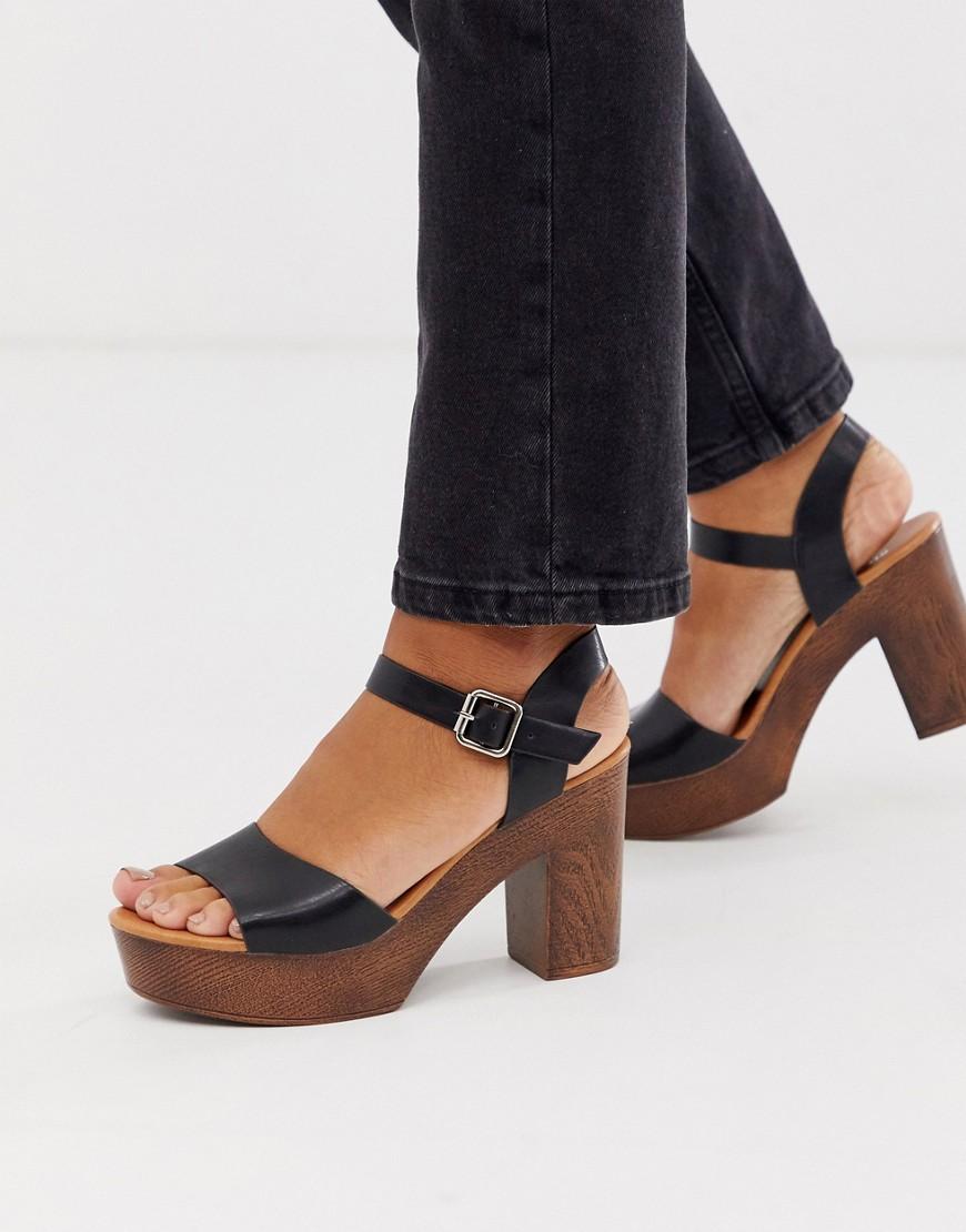Glamorous - Sandales plateforme effet bois - Noir