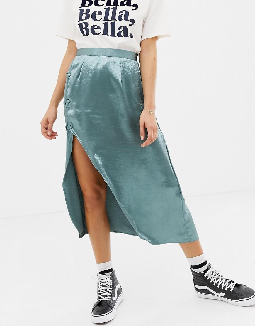 Glamorous Satin Midi Skirt With Split by Glamorous