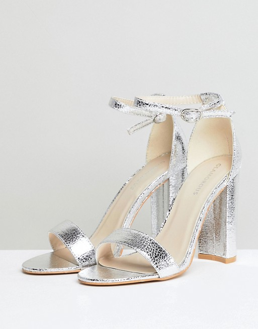 3e6710d935 Glamorous Silver Barely There Block Heeled Sandals