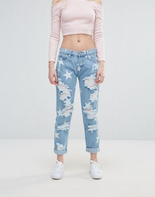 Image 1 of Glamorous Star Print Ripped Jeans