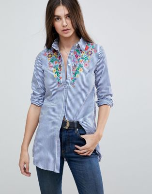Glamorous Stripe Shirt With Embroiderry