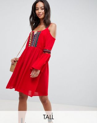 Glamorous Tall Cold Shoulder Swing Dress With Embroidery