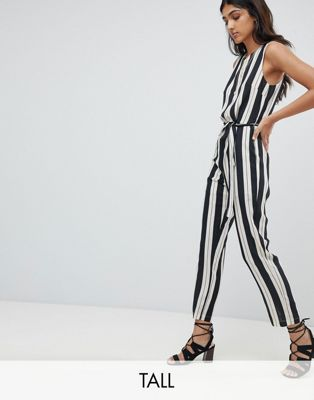 Image 1 of Glamorous Tall Jumpsuit With Tie Waist In Stripe