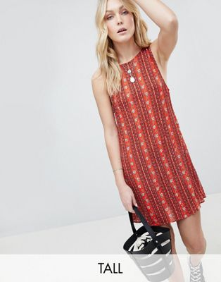 Glamorous Tall Sleeveless Shift Dress With Tie Back In Tile Print