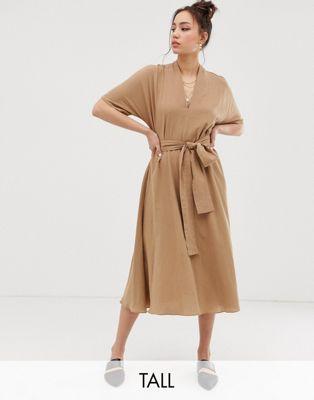 Immagine 1 di Glamorous Tall - Vestito midi con cintura da annodare e maniche a kimono