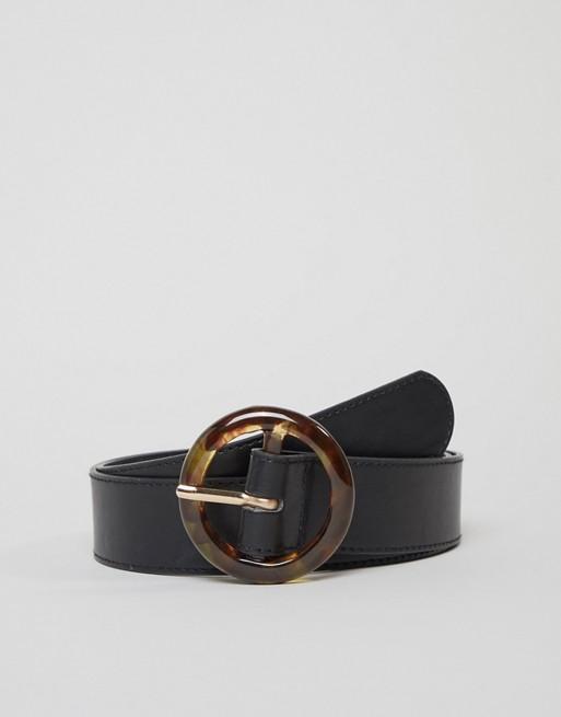 Image 1 of Glamorous tortoiseshell circle buckle black waist and hip jeans belt