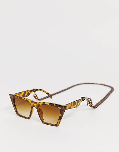 Glamorous tortoiseshell oversized sunglasses with plastic chain