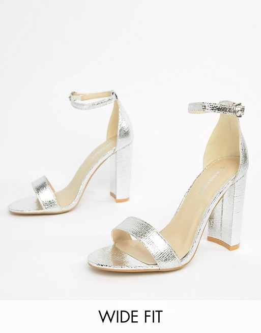 7735c0ce308 Glamorous Wide Fit Silver Barely There Block Heeled Sandals