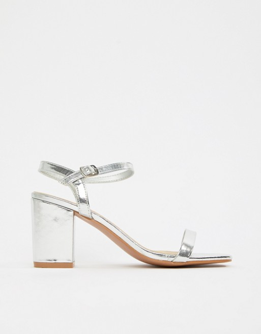 9f2c472df7 Glamorous Wide Fit Silver Block Heeled Sandals | ASOS