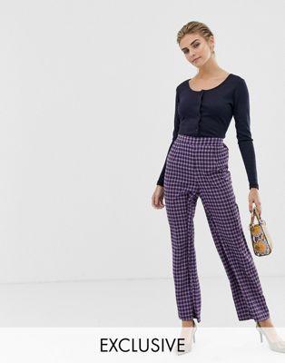 Glamorous wide leg pants in mini check print