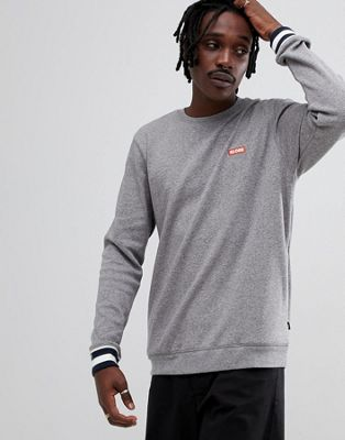 Globe Sweatshirt with Contrast Cuffs and Logo in Gray