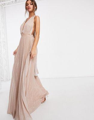 Goddiva - Diepuitgesneden geplooide lange jurk met open rug ...