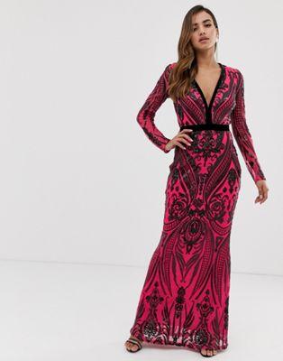 Goddiva sequin embellished plunge maxi dress in black and pink