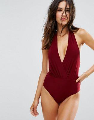 Goddiva Simple Wrap Over Swimsuit