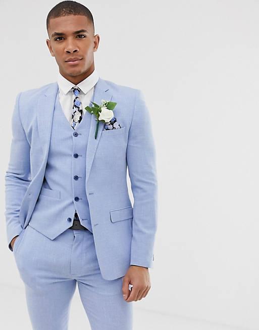 Голубой свадебный пиджак супероблегающего кроя ASOS DESIGN