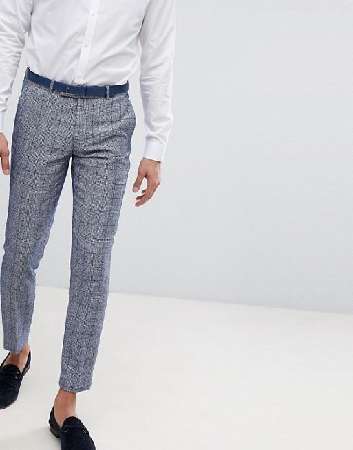 Голубые брюки скинни в клетку Moss London Wedding