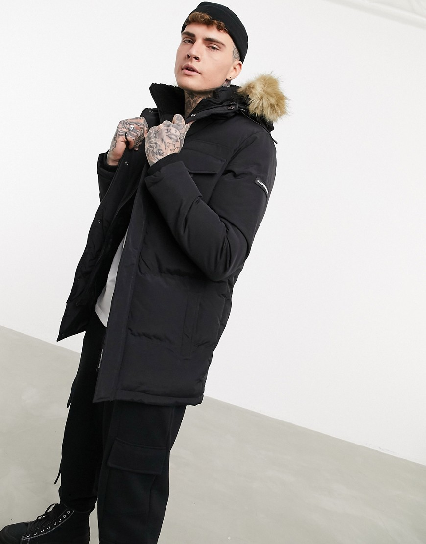 double layer parka with faux-fur hood in black