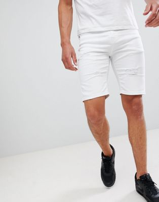 Good For Nothing – Enge Jeansshorts in Weiß mit Zierrissen