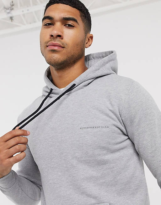 Good For Nothing – Grå huvtröja med logga i muscle fit-modell