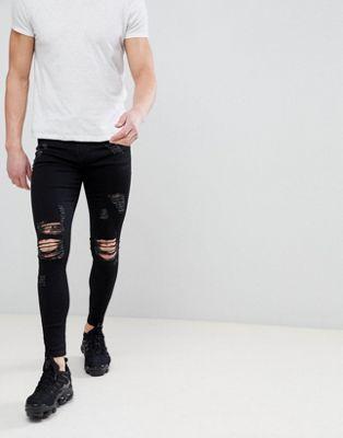 Good For Nothing – Hautenge schwarze Jeans in Distressed-Optik