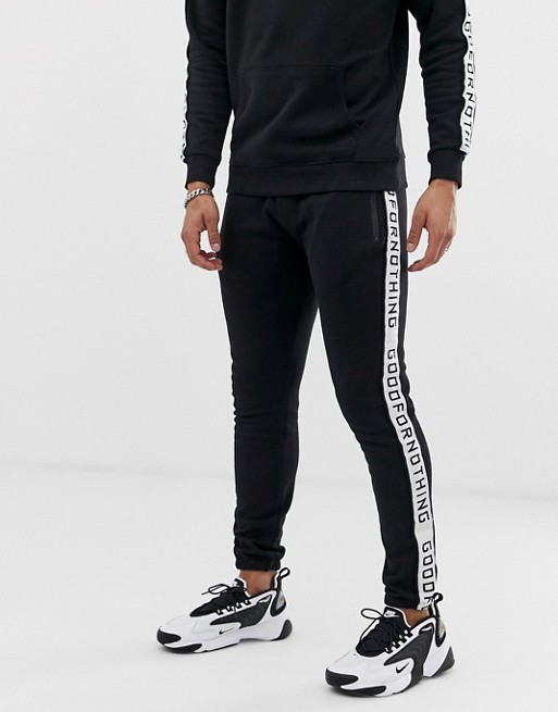 Image 1 of Good For Nothing joggers in black with side stripe logo