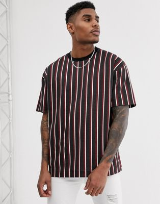 Image 1 of Good For Nothing oversized t-shirt in red and black stripes with back print