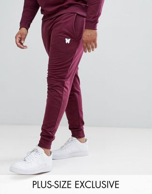 Good For Nothing PLUS Skinny Joggers In Burgundy with Small Logo Exclusive to ASOS