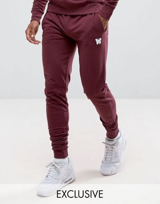Good For Nothing Skinny Joggers In Burgundy with Small Logo Exclusive To ASOS