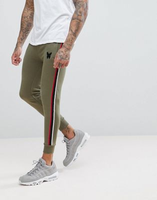 Good For Nothing Skinny Joggers In Khaki With Side Stripe