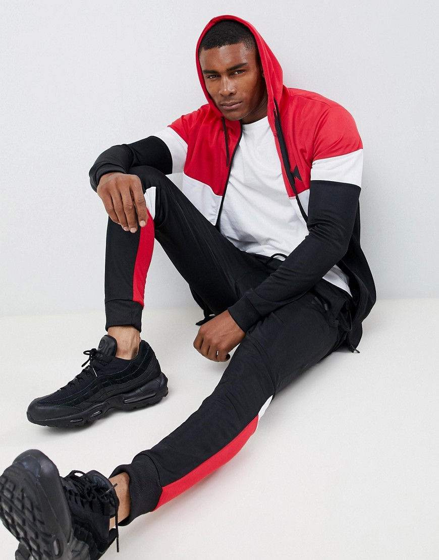 Good For Nothing Zip Thru Hoodie In Colour Block by Good For Nothing