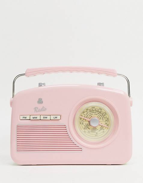 GPO Rydell retro radio in pink