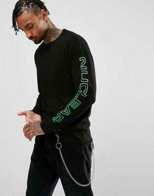 Granted – Schwarzes, langärmliges Shirt mit Nuclear-Print an den Ärmeln