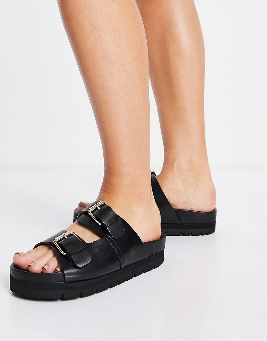 Grenson Flora leather double buckle sandals in black