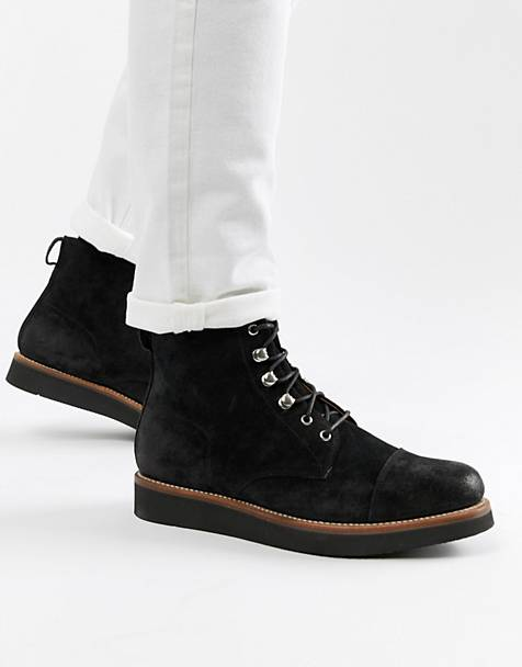 Grenson Newton lace up boots in black suede
