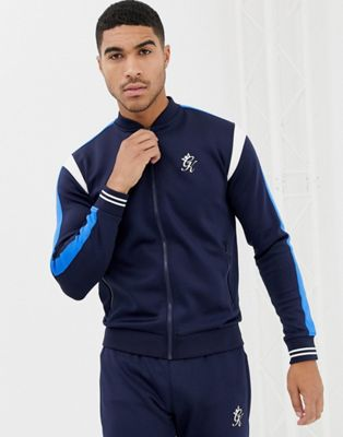 Gym King muscle bomber track jacket in navy