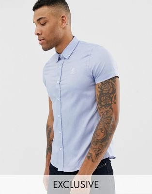 Gym King muscle short sleeve shirt in blue exclusive to ASOS