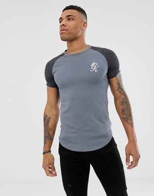 Gym King muscle t-shirt in gray with contrast sleeves