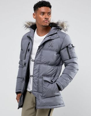 Image 1 of Gym King Puffer Parka In Gray With Faux Fur Hood