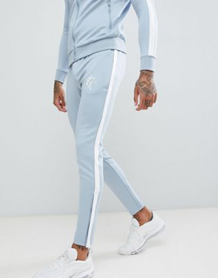 Gym King Skinny Poly Joggers In Blue With Logo
