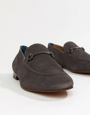 H By Hudson - Banchory bar loafers van grijs suède