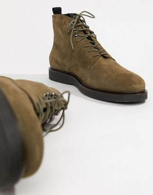 Image 1 of H By Hudson Battle lace up boots in khaki suede