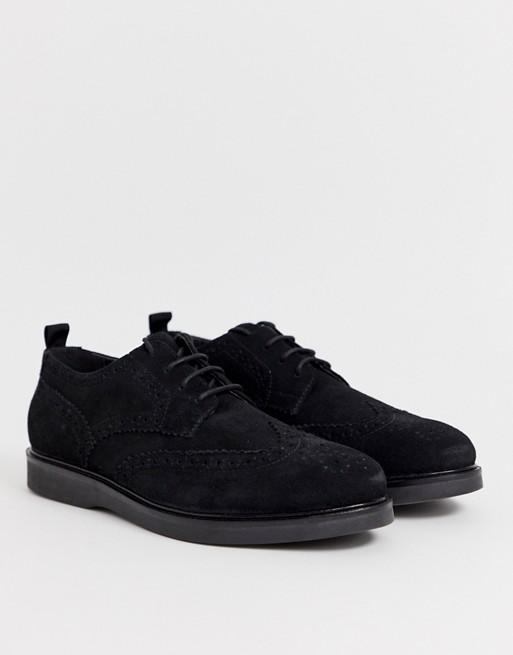 H by Hudson - Calverston - Chaussures richelieu en daim - Noir